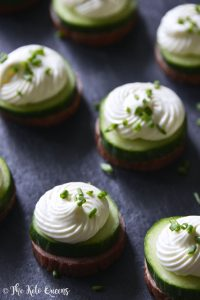 Summer Sausage Cucumber Bites with Cream Cheese Mousse and Fresh Chives