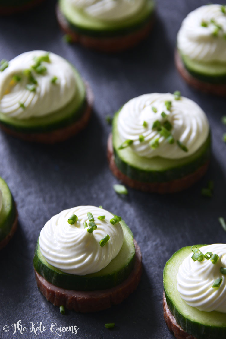 Keto Summer Sausage Cucumber Bites with Cream Cheese Mousse and Fresh Chives