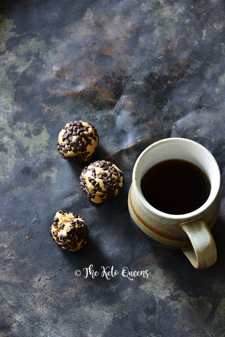 3-Ingredient Keto Chocolate Peanut Butter Protein Bites with Coffee on Metal Tray