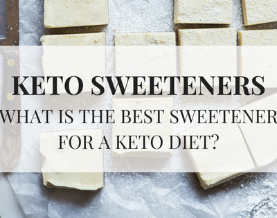 Keto sweeteners. What is the best sweetener for a keto diet? text over image of sweet treats