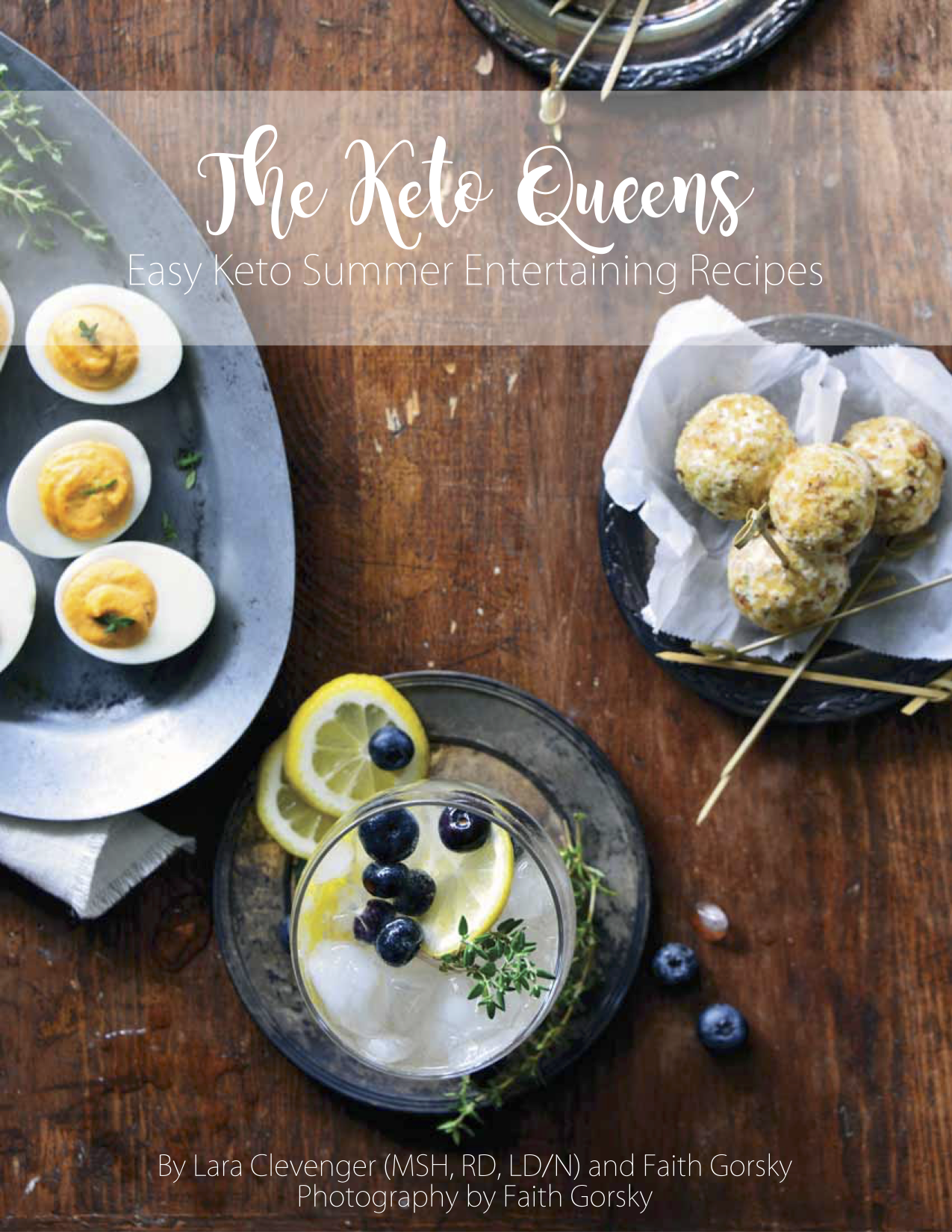 Easy Keto Summer Entertaining Recipes image with deviled eggs, and a cocktail