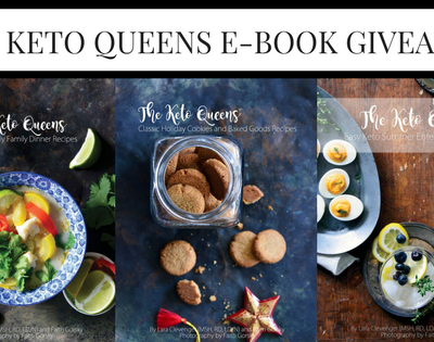 three the keto queens book covers with ebook giveaway text