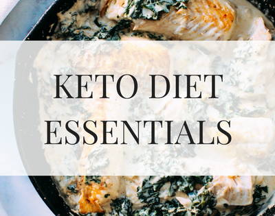 KETO DIET ESSENTIALS over image of keto diet recipe fish and spinach in a cast iron skillet