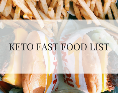 KETO FAST FOOD LIST text over picture of fries and burgers