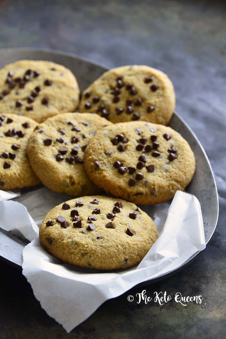 Low Carb Keto Chewy Chocolate Chip Cookies Front View
