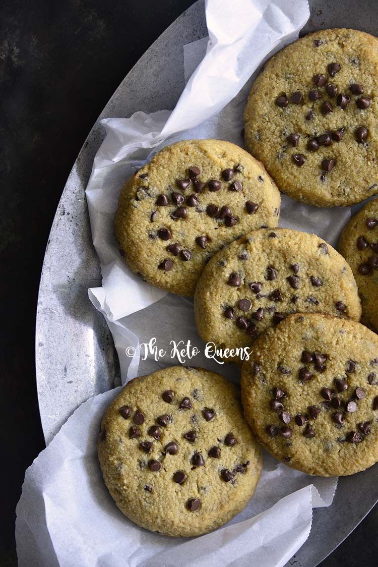 Top View of a Plate of Low Carb Keto Chewy Chocolate Chip Cookies