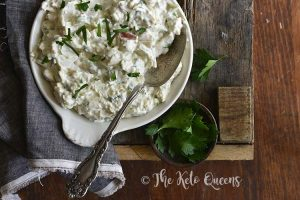 Low Carb Keto Creamy Crab Salad with Dark Linen on Wooden Background