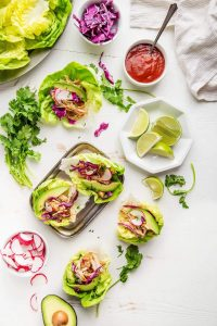 instant pot salsa chicken taco lettuce wraps