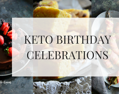 Keto Birthday Celebrations text over 3 images of birthday goodies