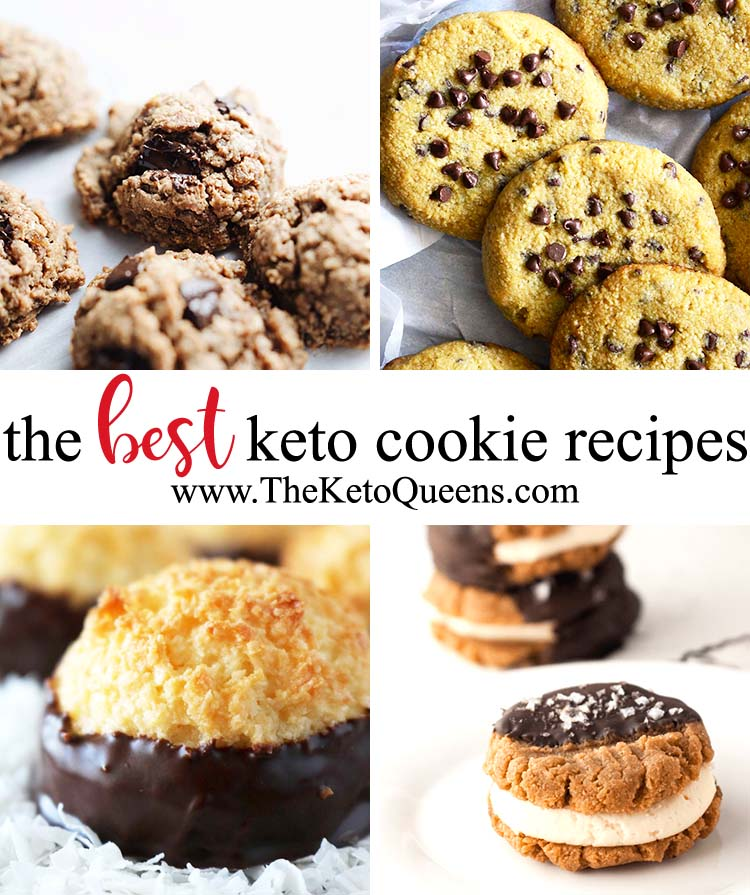 Here you'll find mouth-watering #keto cookie recipes, including chocolate chip cookies, sugar cookies, cookie bars, no bake cookies, cookie dough, Christmas cookies, and more! #lowcarb