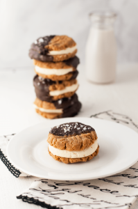 KETO CHOCOLATE DIPPED PEANUT BUTTER COOKIE SANDWICHES