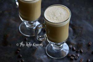Keto Vanilla Cream Bulletproof Coffee on Metal Tray