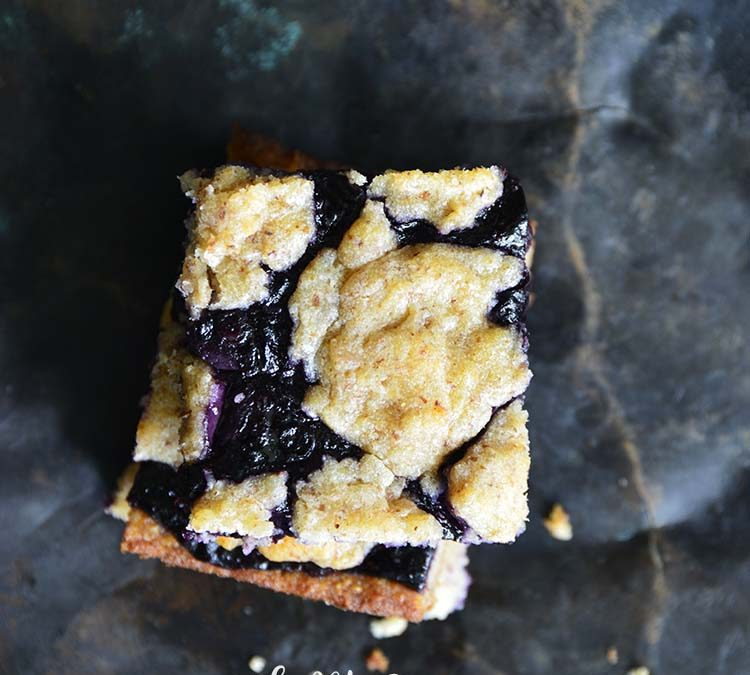 Low-Carb Fathead Blueberry Cobbler Bars