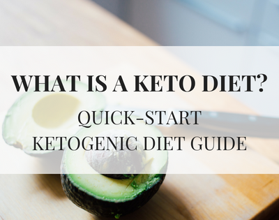 Text WHAT IS A KETO DIET? QUICK-START KETOGENIC DIET GUIDE text over an image of an avocado