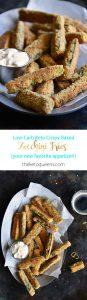 Low-Carb Keto Crispy Baked Zucchini Fries Long Pin