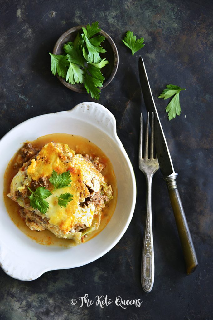 Low Carb Lasagna with Easy Meat Sauce and Cabbage Noodles with fork and knife