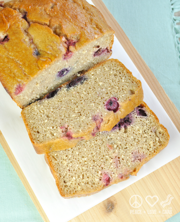 low carb peanut butter berry breakfast loaf