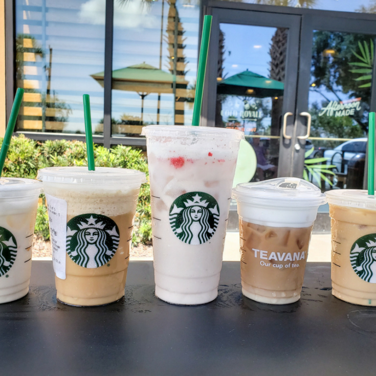 image of 5 keto drinks from starbucks outside on a table