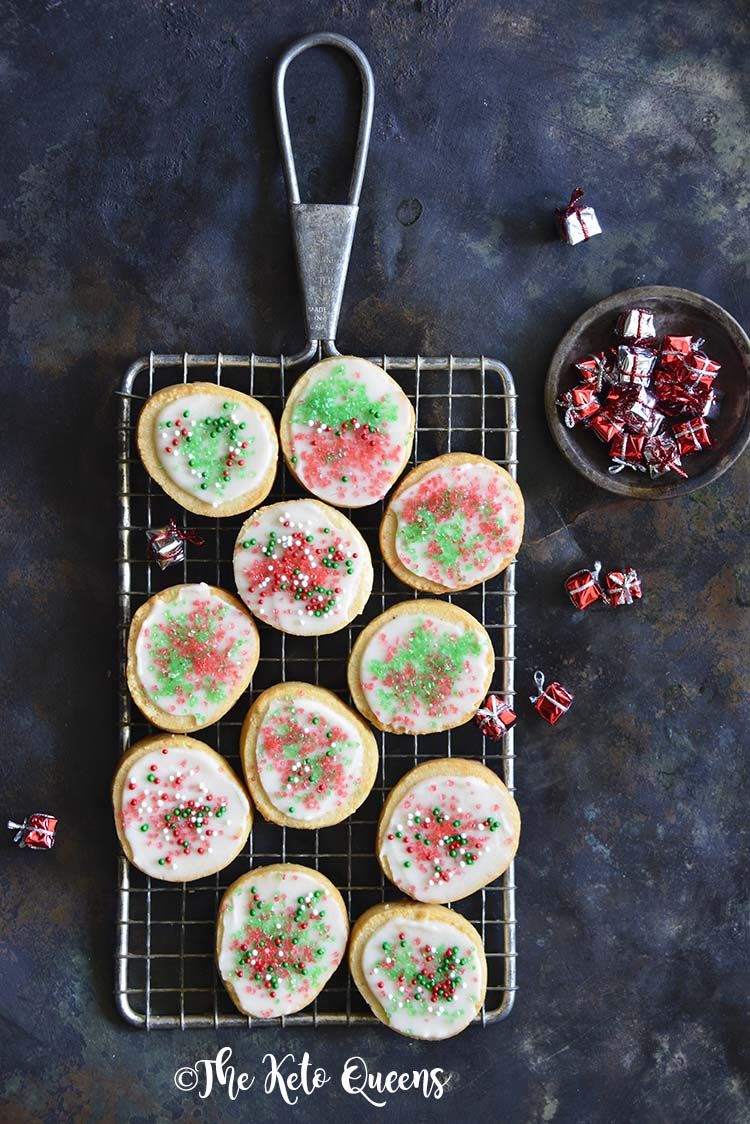 Keto Christmas Sugar Cookies with Icing on Metal Tray