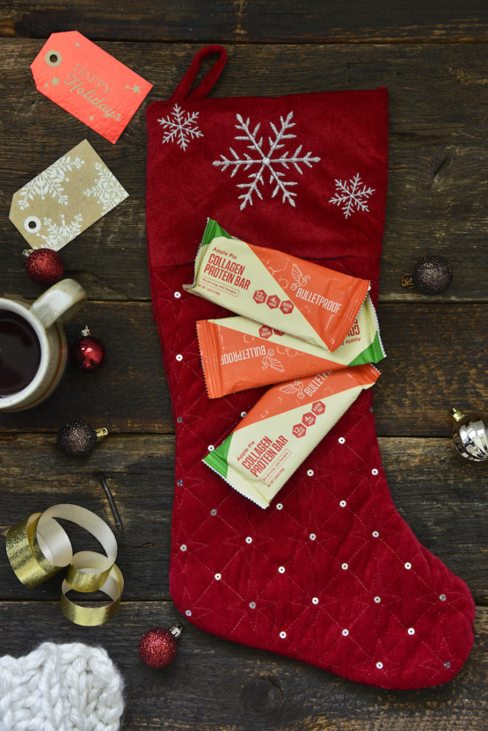 bulletproof collagen bars on top of a stocking