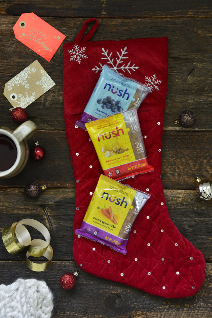Nush Foods on top of a stocking