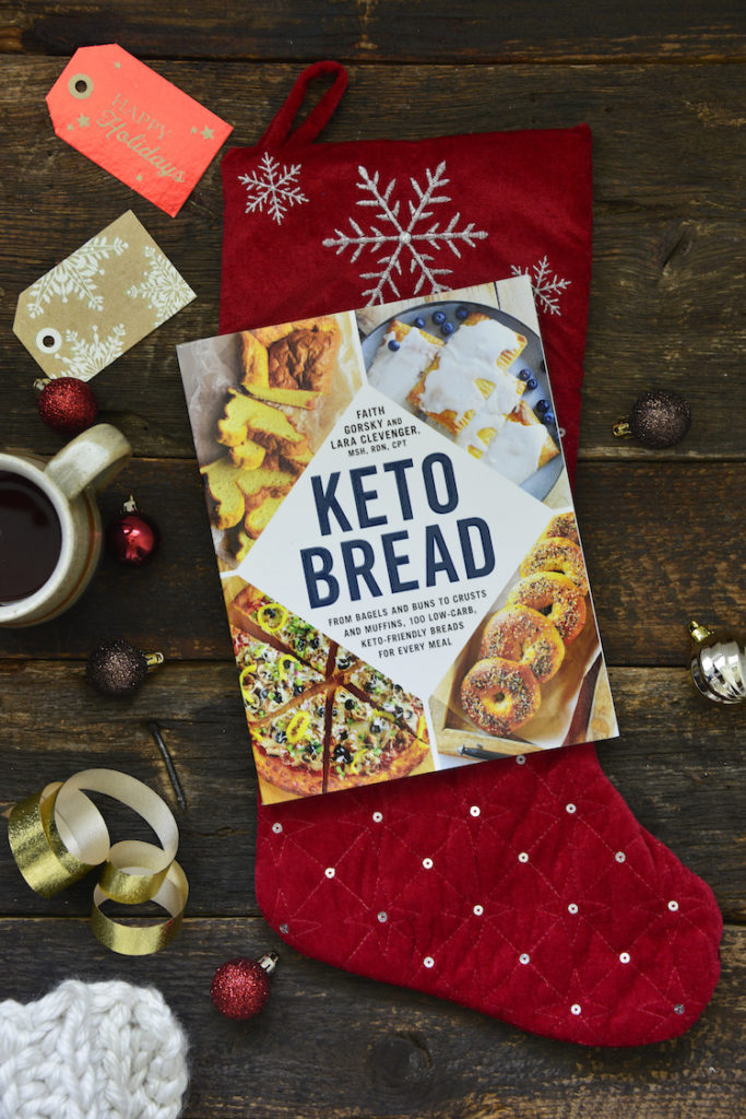 keto bread cook book on top of a stocking
