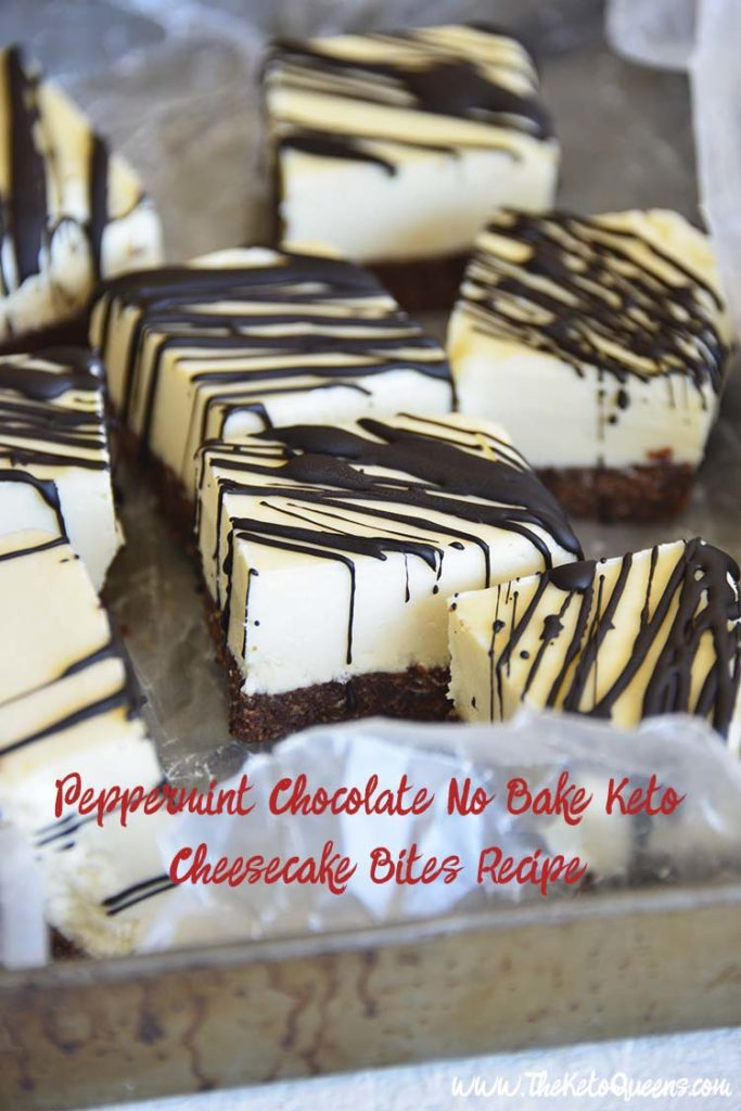 With a cool and creamy peppermint cheesecake filling and a sugar free chocolate cookie crust, people won't know these Peppermint Chocolate No Bake Keto Cheesecake Bites are low carb unless you tell them!