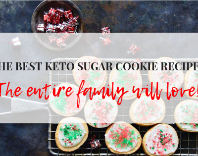 best keto sugar cookie recipe text over image of cookies