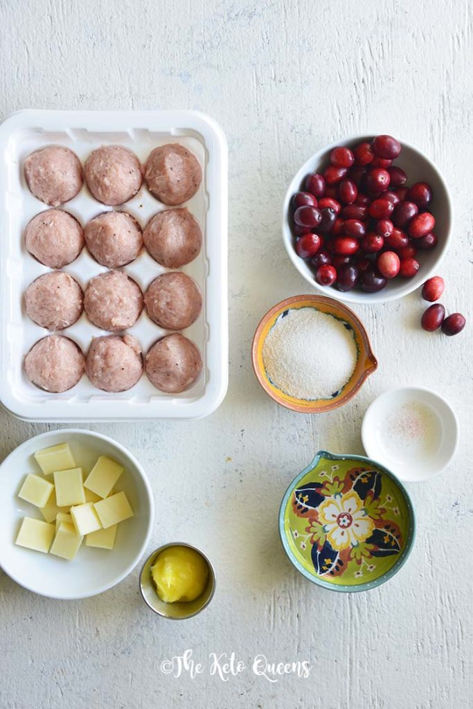 Turkey Sausage Meatballs with Sugar Free Cranberry Sauce ingredients