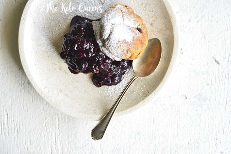 horizontal image of Low Carb Brioche Bread with homemade low carb blueberry sauce
