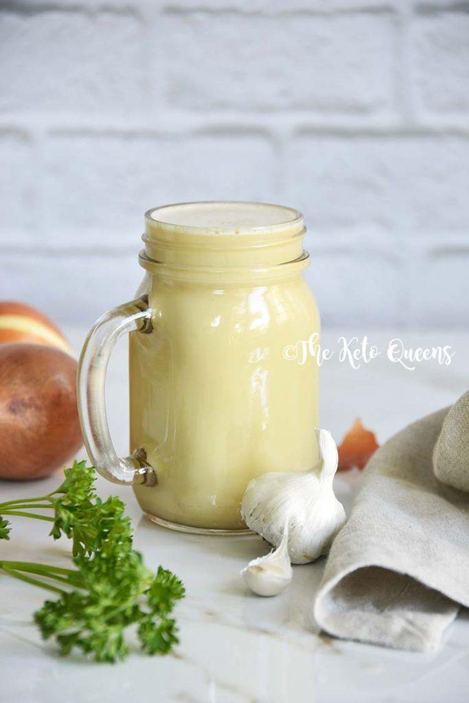 Chicken Bulletproof Bone Broth Recipe in a glass mason jar