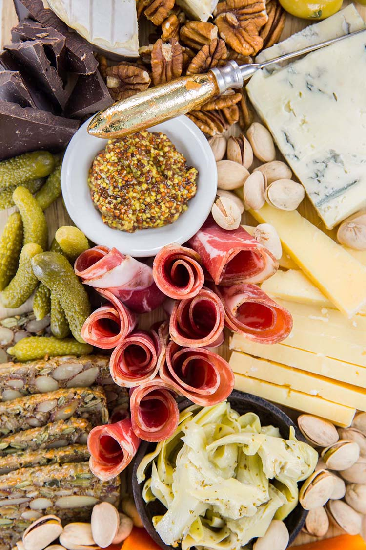 Overhead View of Cheese Board with Stone-Ground Mustard