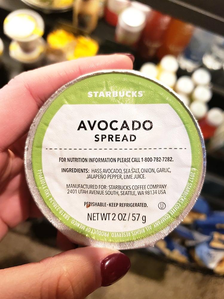 holding starbucks avocado spread