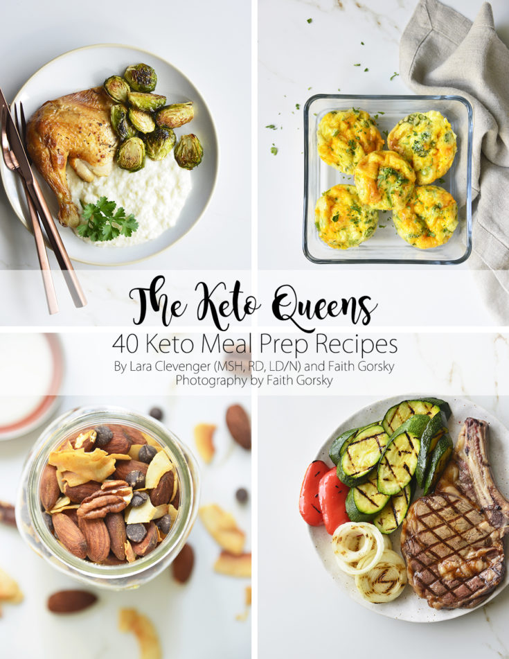 40 keto meal prep recipes cover with 4 prepped food images
