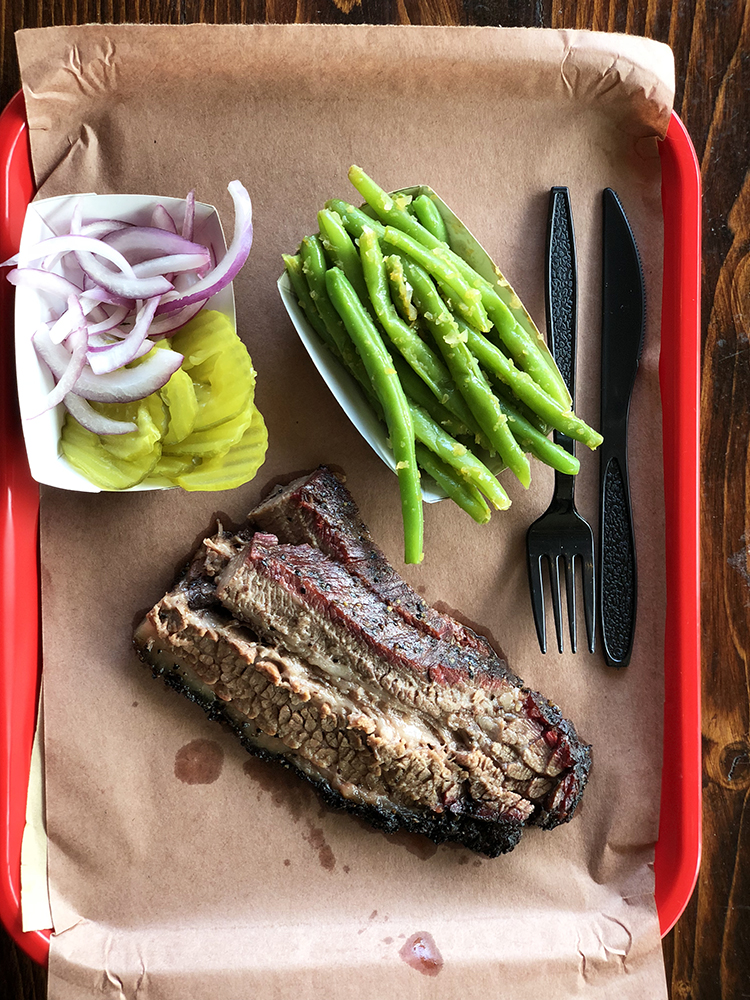 Beef Brisket on Tray with Green Beans