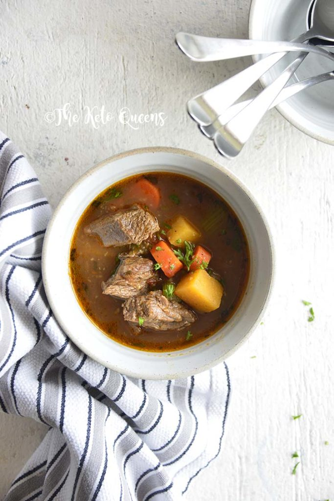 No time to make a home cooked meal? Think again! Our Keto Beef Stew Crockpot Recipe is prepped in minutes and cooks while you are at work!