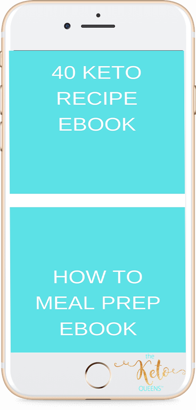 40 keto recipe ebook and how to meal prep ebook text on a phone