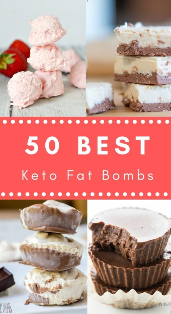 50 Best Keto Fat Bomb Recipes. Collage of low carb fat bomb pictures. The Keto Queens.