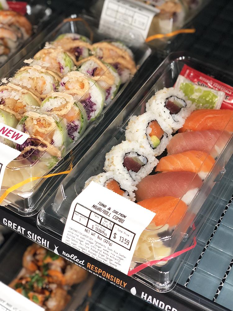tuna and salmon nigiri and roll whole foods
