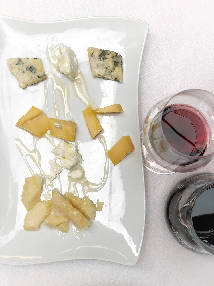Cheese Tray and Red Wine in Venice