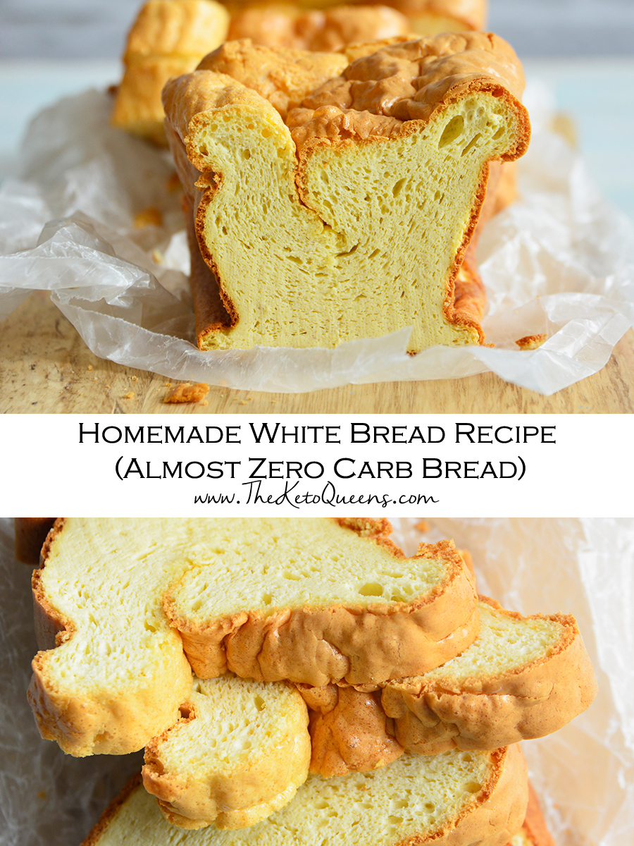 Homemade White Bread Recipe (Almost Zero Carb Bread) Pin