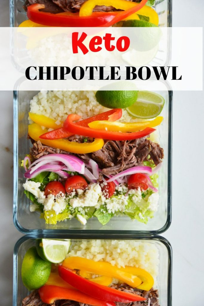 how to make a keto chipotle bowl pinable image