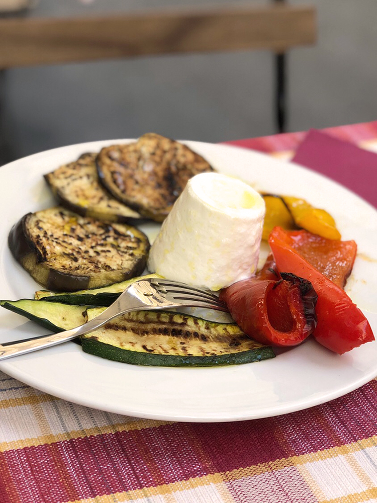 Antipasti Platter of Ricotta and Grilled Vegetables