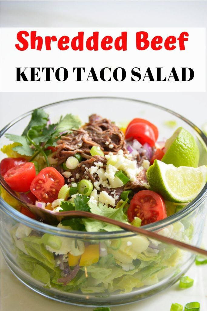 Shredded beef keto taco salad recipe pinable image