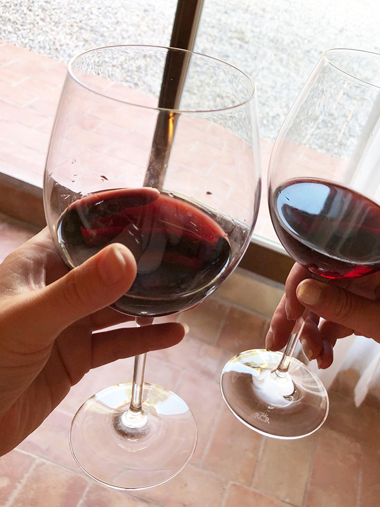 Two Glasses of Tuscan Chianti Classico Wine