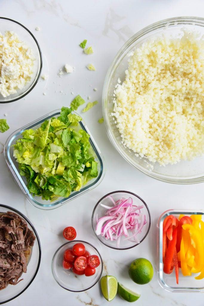 keto chipotle bowl individual ingredients
