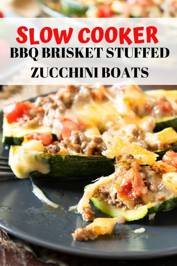 SLOW COOKER BBQ BRISKET STUFFED ZUCCHINI BOATS PINABLE IMAGE