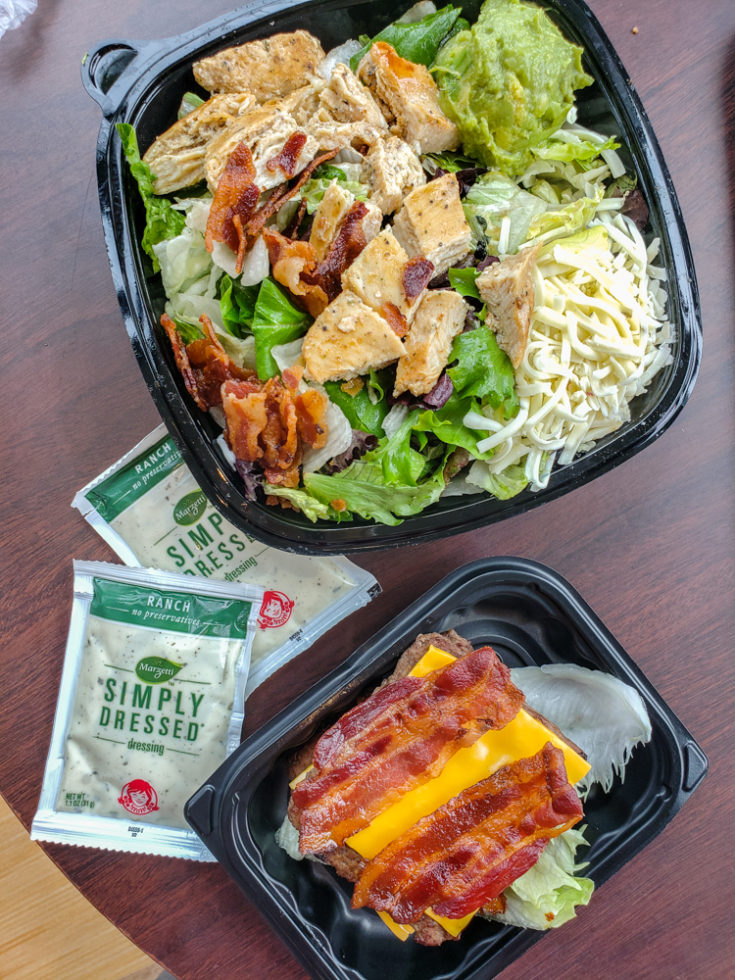 Wendy's keto options - southwestern chicken salad and baconator no bun