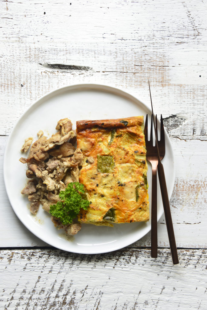 Zucchini Mozzarella Frittata with Shredded Chicken fresh n lean reviews