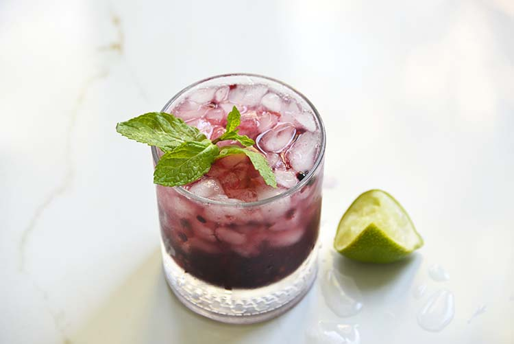 Low Carb Sparkling Blackberry Bourbon Smash